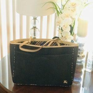 Burberry Black Canvas Bag w Leather Trim